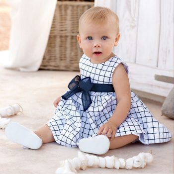 2017 Summer Style New Fashion White Plaid Girl Dress Sleeveless Baby Kids Clothing Casual Girl Dress Vestidos