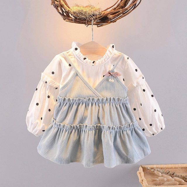 Kids Ruffled Casual Princess Dresses Polka Dot Baby Girls Dress for Girl New Auttmn Long Sleeve Fake 2 Piece Dress