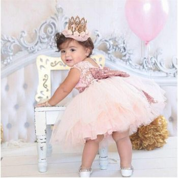Pink Backless Princess Gold Bow Baby Dress for Girl Baptism Christening 1st Birthday Party Newborn Gift Infant Tutu Girls Gown