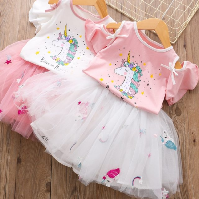 Girls Unicorn Dress Clothing Sets 2019 Summer Cute Princess Girl Unicorn T- Shirt + Gauze Dress 2PCS Set Children Clothing 3 8Y