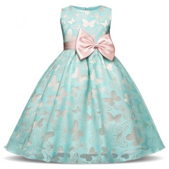 Big Bow Butterfly Kids Girl Wedding Flower Girls Dress Princess Party Pageant Formal Dress Prom Little Baby Girl Wedding Dress
