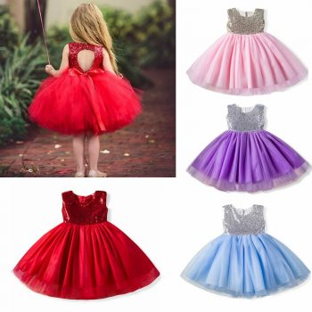 Princess Flower Girl Dress Backless Design Wedding Birthday Party Dresses For Girls Children's Costume New Year kids Clothes