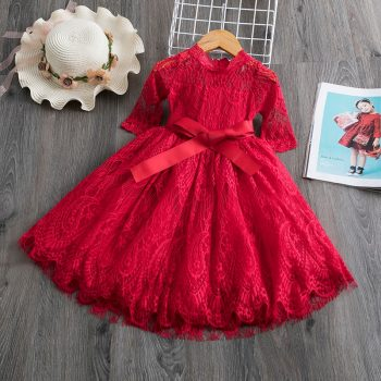Lace Girls Dress Red Dresses For Christmas Anniversaire Gift Party Frocks Tutu Toddler Kids Prom Gown Dress Children's Clothing