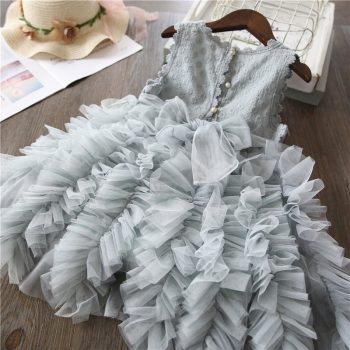 Summer Kids Dresses For Girls Tutu Fluffy Cake Smash Dress Elegant Princess Party Wedding Dress Girl Birthday Clothing 3 8Y