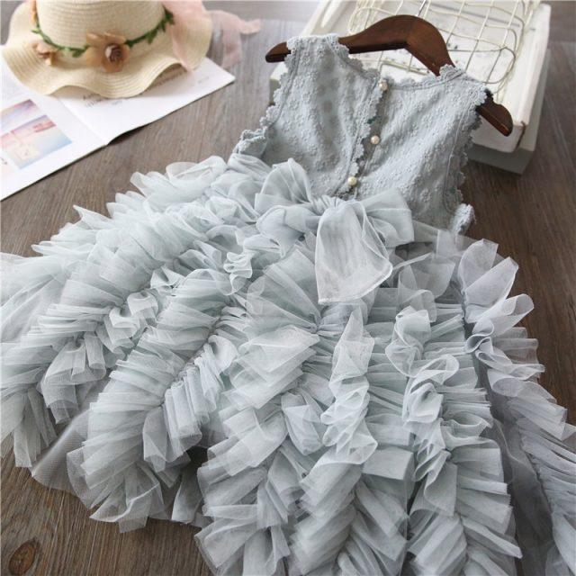 Summer Kids Dresses For Girls Tutu Fluffy Cake Smash Dress Elegant Princess Party Wedding Dress Girl Birthday Clothing 3 8Y