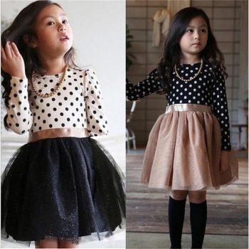Baby Girl Long Sleeve Polka Dot Dress Girls Autumn Winter 2019 Princess Teenage Casual Wear School Kids Girls Party Tutu Dresses