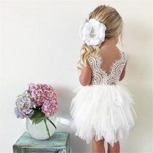 Summer Dresses For Girl 2018 Girls Clothing White Beading Princess Party Dress Elegant Ceremony 4 5 6 Years Teenage Girl Costume