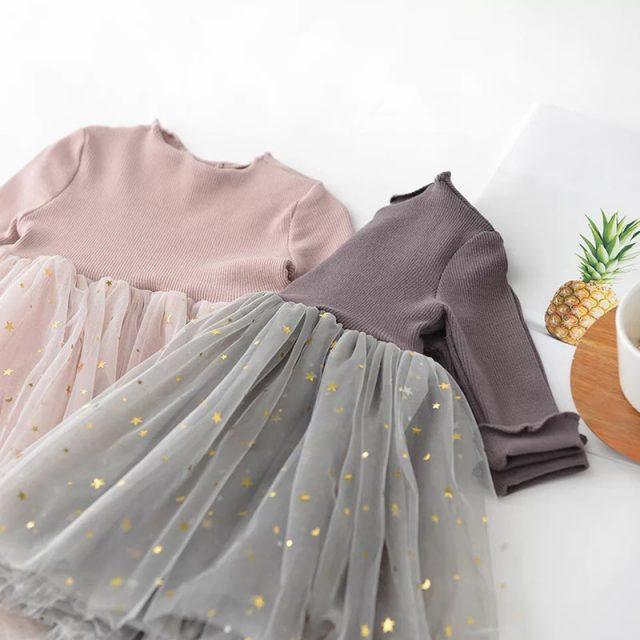 Winter Kids Dresses For Girls Long Sleeve Children Clothing Sequins Stars Tutu Girls Casual School Wear Princess Party Dress