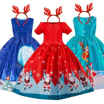 New Year Christmas Dress For Girls Santa Clus Costume Kids Dresses For Girls Princess Dress Evening Party Dress 3 6 7 8 10 Years