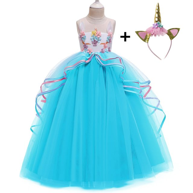 Rainbow Unicorn Cosplay Girl Dress Party Elegant Flower Lace Long Tutu Formal Ball Gown Princess Baby Dresses 5 7 8 12 14 Years