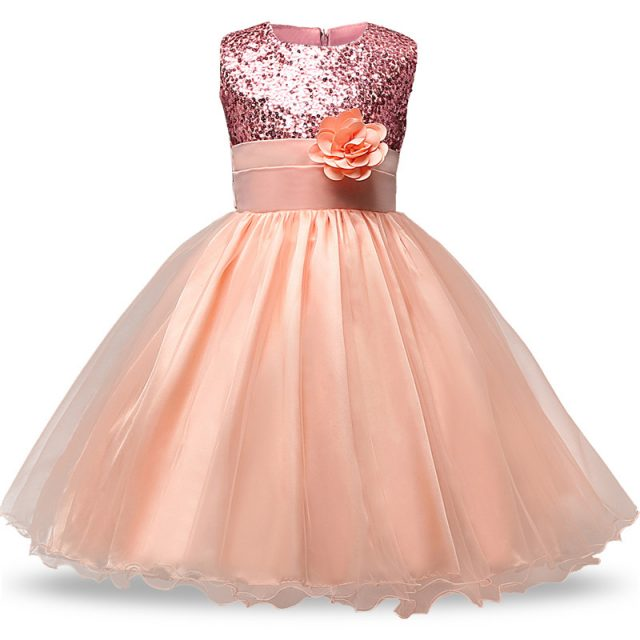 4-12 yrs Hot Selling Baby Girls Flower Sequins Dress High Quality Party Princess Dress Children Kids Clothes 9 Colors For Girls