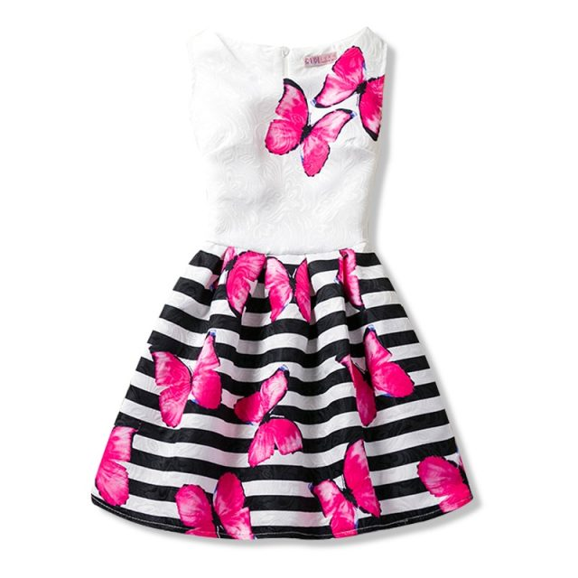 A-line Kids Dresses For Girls Clothing Print Butterflies Blue Teenager Casual Children Girl Dress Vestido Infantil 6 12 Years