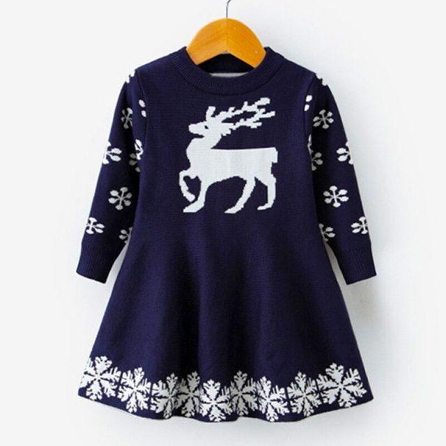 Kids Dresses For Girls Long Sleeve Deer Snowflake Print Dress New Year Costume Princess Dress Kids Christmas Clothes Vestidos