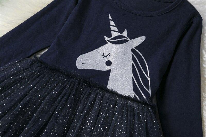 3-8 Years Girls Dress Long Sleeve Kids Unicorn Party Vestidos Fancy Children Princess Dresses Kids Birthday Dress For Girl