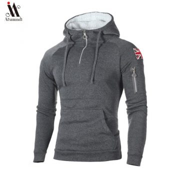 New Fashion Brand  Mens Zipper Hoodies Hip Hop Sweatshirt Autumn  Flag Men Patchwork Hooded Tracksuit Male Hoody Clothing