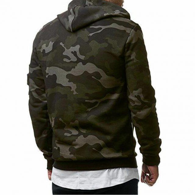 Men's Fleece Warm Hoodie Hooded Camouflage Sweatshirt Pullover Coat Tops Jacket