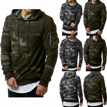 Men's Fleece Warm Hoodie Hooded Camouflage Sweatshirt Pullover Coat Tops Jacket