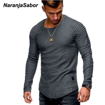 NaranjaSabor New Men's Cutton Hoodies 2019 Autumn Long Sleeve Casual Slim Shirt Mens Brand Clothing Male Sweatshirt 4XL N542