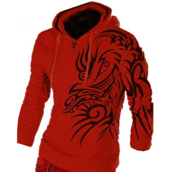new arrival autumn men's fashion dragon printed long sleeve pullovers fashion juniors boy's slim knnited hoodies