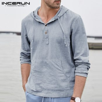 Autumn INCERUN Men Hoodies Pullover Sweatshirts Long Sleeve Striped Male Tops Hombre Outwears Fashion Hoody Joggers Tops 2019