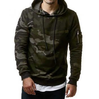 Camouflage Print Hoodies Men Hip Hop Drawstring Pullovers Moletom Streetwear Casual Sudadera Hombre Full Sleeve Hoody Sweatshirt