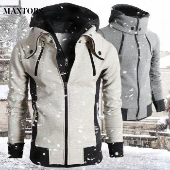 2019 Zipper Men Jackets Autumn Winter Casual Fleece Coats Bomber Jacket Scarf Collar Fashion Hooded Male Outwear Slim Fit Hoody