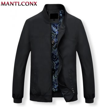 MANTLCONX Mens Jackets Autumn Casual Coats Solid Color Mens Stand Collar Zipper Jacket Male Bomber Jacket Men Casual Outerwear