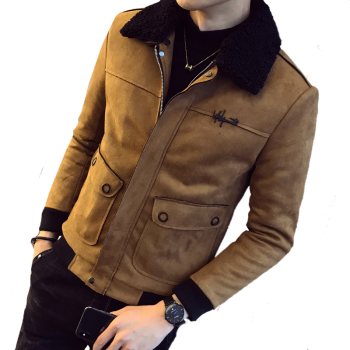 2019 new autumn and winter wool lapel suede cotton men's short large pockets cotton jacket trend embroidery cotton jacket male