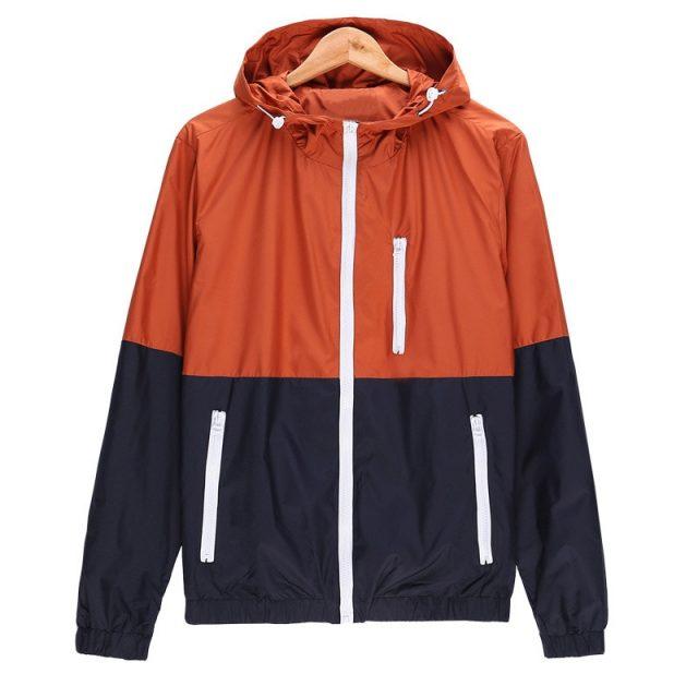 Windbreaker Men Casual Spring Autumn Lightweight Jacket 2019 New Arrival Hooded Contrast Color Zipper up Jackets Outwear Cheap