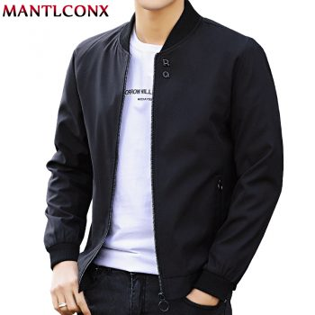MANTLCONX Newest Solid Autumn Mens Bomber Jackets Male Casual Zipper Summer Jacket Men Spring Casual Outwear Men Thin Jacket