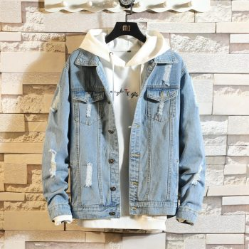 Men's Fashion Denim Jacket Men's Casual Bomber Jacket Men's Hip Hop Men's Retro Denim Jacket Jacket Streetwear 2019