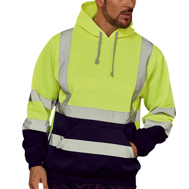 Hoodies Male Reflective Sportswear Men's Jacket Road Work High Visibility Pullover Long Sleeve Tops Coat Clothes Streetwear#F5