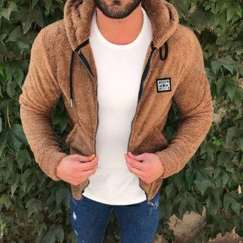 Jacket Men's Sweater Warm Hooded Sweater Coat Jacket Men's Autumn Winter Casual Loose Double-Sided Plush Men's Sweater Coat Top