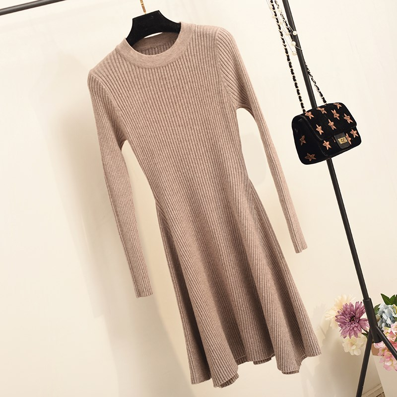 Women Long Sleeve Sweater Dress Women's Irregular Hem Casual Autumn Winter Dress Women O-neck A Line Short Mini Knitted Dresses
