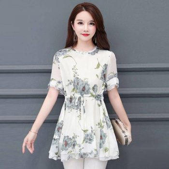 Women Tops Fashion Floral Printed O-Neck Short Sleeve Ruffles T-Shirts Summer Casual Loose Tops
