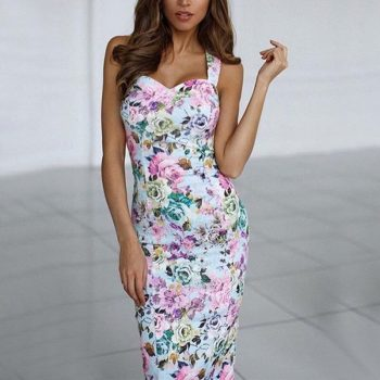 Women Off Shoulder Summer Dress Print Bodycon Dress Spaghetti Strap Backless Sexy Dress