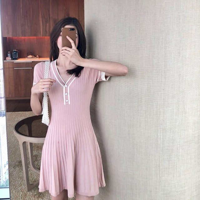 Women Fashion Color Matching V-neck Pleated Short Sleeves Dress Casual Knitted Bottoming Sweet Summer Dresses 2019 New