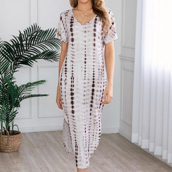 Summer V Neck Print Dress Female Summer Dress Fashion Loose Short Sleeve Dress