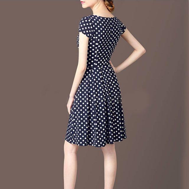Summer New V-neck Short-sleeved Polka Dot Print A Lined Dress Sweet Bohemian Woman Dress Fashion Beatiful Summer Woman Dress