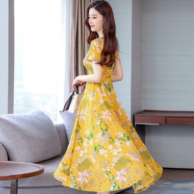 2019 Fashion New Women Summer Floral Dress O Collar Short-sleeve Bohemian Dress Female Beautiful Sweet Temperamental Dress