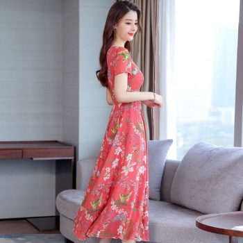 2019 Fashion New Women Summer Floral Dress O Collar Short-sleeve Bohemian Dress Female Beautiful Sweet Temperamental Dress