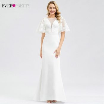Ever Pretty Elegant Lace Wedding Dresses O-Neck Short Sleeve Zipper Sexy Illusion Mermaid Bride Dresses Vestidos De Novia 2019