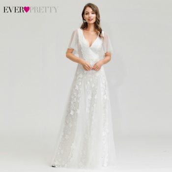 White Lace Wedding Dresses Ever Pretty A-Line V-Neck Ruffles Sleeve Floral Appliques Wedding Gowns For Bride Vestido De Noiva