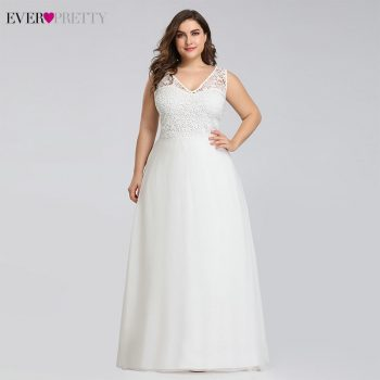 Ever pretty Plus Size Lace Wedding Dresses A-Line Floor-Length Sleeveless Illusion Elegant Wedding Gown 2019 Vestido De Noiva
