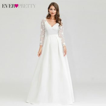 Robe De Mariee Ever Pretty Wedding Dresses A-Line V-Neck Long Sleeve Lace Embroidery Elegant Wedding Gowns For Bride Gelinlik