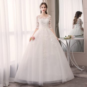 Robe De Mariee Elegant White Wedding Dresses O-Neck Half Sleeve Lace Appliques Illusion Formal Bride Gowns Suknia Slubna 2019