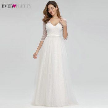 Vestidos De Novia White Lace Wedding Dresses Ever Pretty A-Line V-Neck Zipper 3/4 Sleeve Elegant Bride Dresses Gelinlik 2019