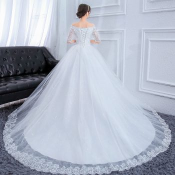 Plus Size Long Train Wedding Dresses Lace Ball Gown Crystal Beaded Off The Shoulder Luxury Bride Dresses Robe De Mariee 2019