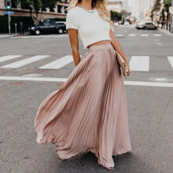 New Bohemian Style Pleated  Long Sweet Pleated Skirt Fashion High Waist Elastic Casual Party Skirt