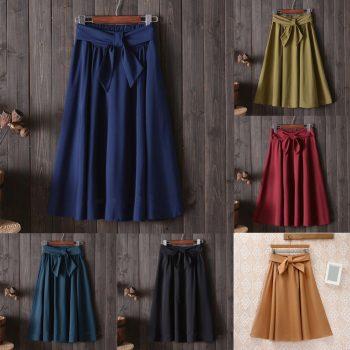 NewLady A-line Skirt Bowknot Bow Tie Ruffle Casual Midi Skirt
